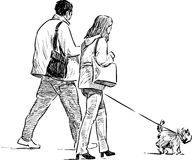 Couple with a dog on a walk. Vector drawing of the spouses with their pet on a stroll vector illustration