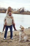 Couple with dog Stock Photography