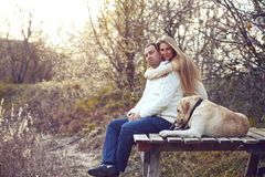 Couple with dog Stock Photos
