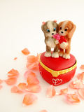 Couple of dogs. With the heart . Valentines day Royalty Free Stock Image