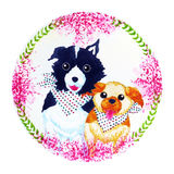 Couple dogs flower wreath celebration watercolor painting Royalty Free Stock Photography