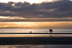 Couple with dogs in silhouette. White Rock BC, Canada Stock Photography