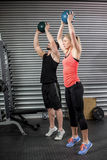 Couple doing ball exercise Royalty Free Stock Images