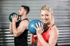 Couple doing ball exercise royalty free stock photos