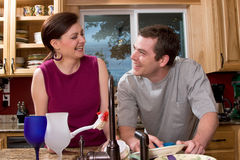 Couple Doing Dishes - Horizontal Stock Photos