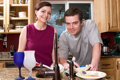 Couple Doing Dishes - Horizontal Stock Photo