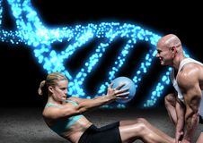 Couple doing exercise blue lights dna chain Stock Images