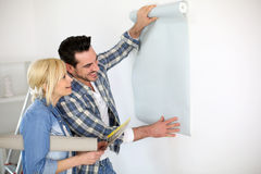 Couple doing renovation works Royalty Free Stock Photography