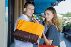 Couple doing shopping in city stock photo
