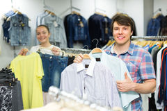 Couple doing shopping at the clothing store Stock Photo