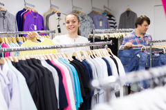 Couple doing shopping at the clothing store Stock Image