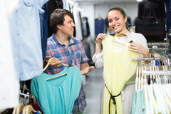 Couple doing shopping at the clothing store Royalty Free Stock Photography