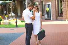 Couple Doing Shopping in Valentines Day Royalty Free Stock Image