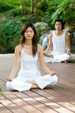 Couple Doing Yoga. A young couple doing yoga outside royalty free stock photos