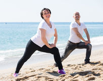 Couple doing yoga on the beach royalty free stock photo