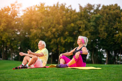 Couple doing yoga outdoors. Royalty Free Stock Images