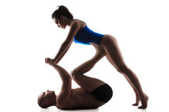 Couple doing  yoga pose Stock Image