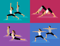 Couple doing Yoga Workout Set Royalty Free Stock Image