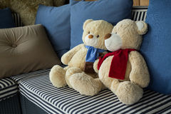 Couple doll bear lover decorated on sofa furniture interior Stock Photography