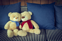Couple doll bear lover decorated on sofa furniture interior Royalty Free Stock Images