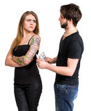Couple with dollar cash money Stock Photos