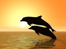 Couple of dolphins. Two dolphins swimming vector illustration