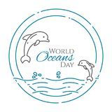 Couple of dolphins jumping above water - line style world oceans day banner isolated on white background. Couple of dolphins jumping above water in circle Stock Photography
