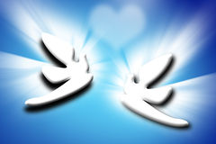 Couple doves and heart over blue background Stock Image