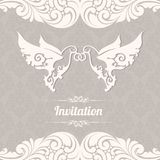 Couple of doves with rings on background with lace pattern. Two white abstract birds. Ornamental borders elegant design element wedding invitation vector illustration