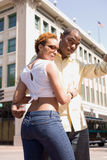 Couple Downtown. Young African American Couple in a Downtown Setting stock image