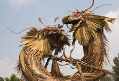 Couple dragons. Made of coconut leaf Royalty Free Stock Images