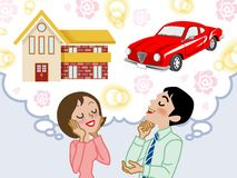 Couple dreaming house and car -EPS10. Illustration of Couple who dreaming house and car Stock Photo