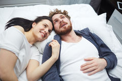Couple dreaming. Young couple dreaming in bed Royalty Free Stock Photo