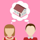 Couple dreams about house. Concept of desire to obtain it's own home. Vector illustration Royalty Free Stock Image