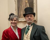 A couple dress in victorian costume. UK, Market Bosworth, Victorian Christmas Fair - December 2015: A couple dress in victorian costume royalty free stock image