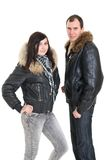 Couple in dress for winter Stock Photography