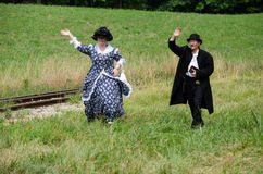Reenactment couple 1800s Royalty Free Stock Images