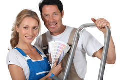 Couple dressed for DIY Royalty Free Stock Image