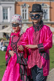 Couple dressed in period costumes Royalty Free Stock Image