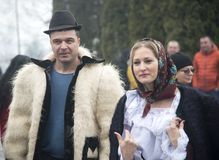Couple dressed in traditional Romanian clothes Stock Photography