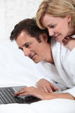 Couple in dressing gowns royalty free stock images