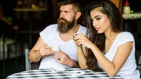 Couple drink black espresso coffee in cafe. Morning coffee tradition. Couple enjoy hot espresso. Having black cup of. Coffee when feel tensed or low can boost stock images