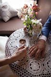 Couple drink coffee in cafe. Date. Royalty Free Stock Images