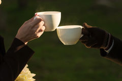 Couple drink hot beverages outdoor Royalty Free Stock Photos