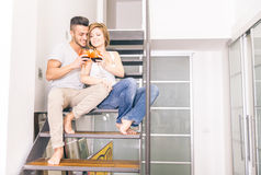 Couple drink wine at home royalty free stock image