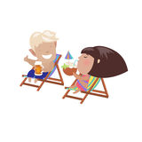 Couple drinking beverages sitting in the deck Royalty Free Stock Images