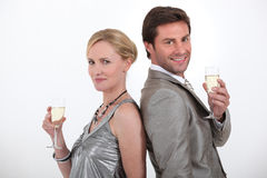 Couple drinking champagne Stock Photography