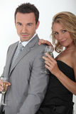 Couple drinking champagne Royalty Free Stock Image