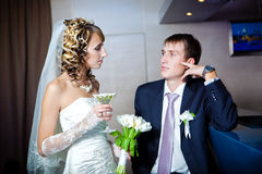 Couple drinking champagne in bar Royalty Free Stock Image