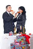 Couple drinking champagne and celebrate X-mas Royalty Free Stock Images